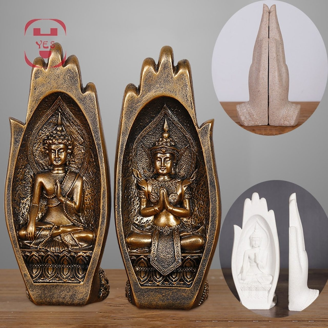 Two Pieces Resin Buddha Figurine