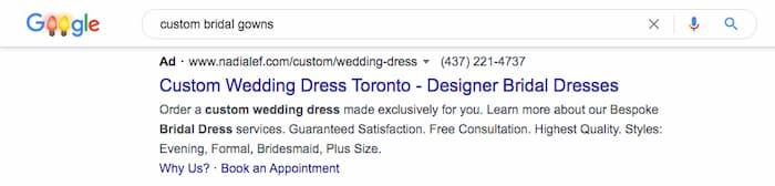 Tìm kiếm trang phục cô dâu tùy chỉnh hiển thị quảng cáo váy cưới