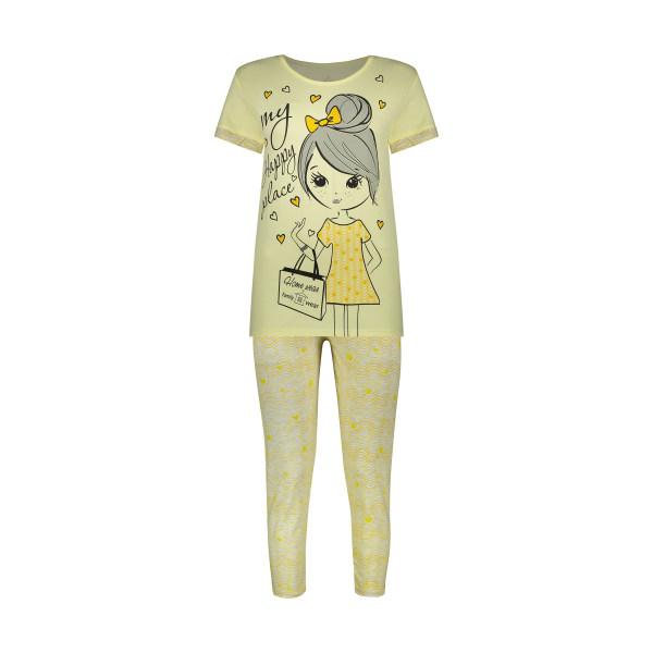 ست تی شرت و شلوار زنانه فمیلی ور طرح دختر کد 0265 رنگ لیمویی