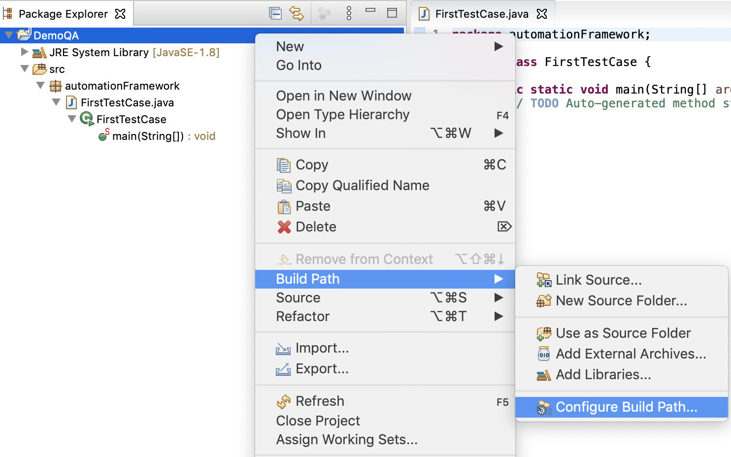 Navigating to Project Build Path in Eclipse