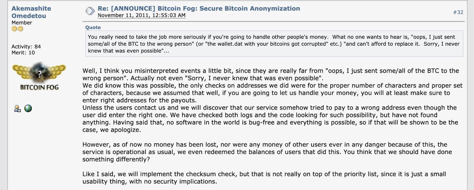 A post by Bitcoin Fog founder Roman Sterlingov on BitcoinTalk, an online forum.