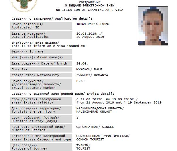 Russian electronic visa