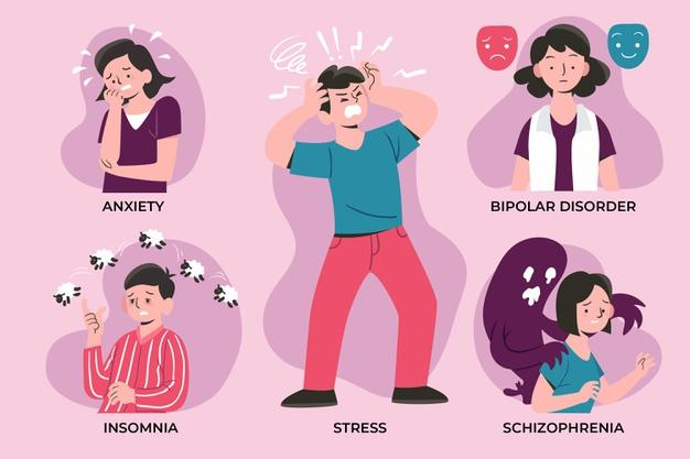 Set of differentmental disorders Free Vector