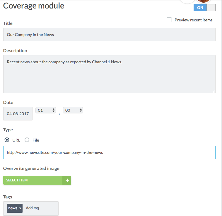 coverage module with title and description filled out