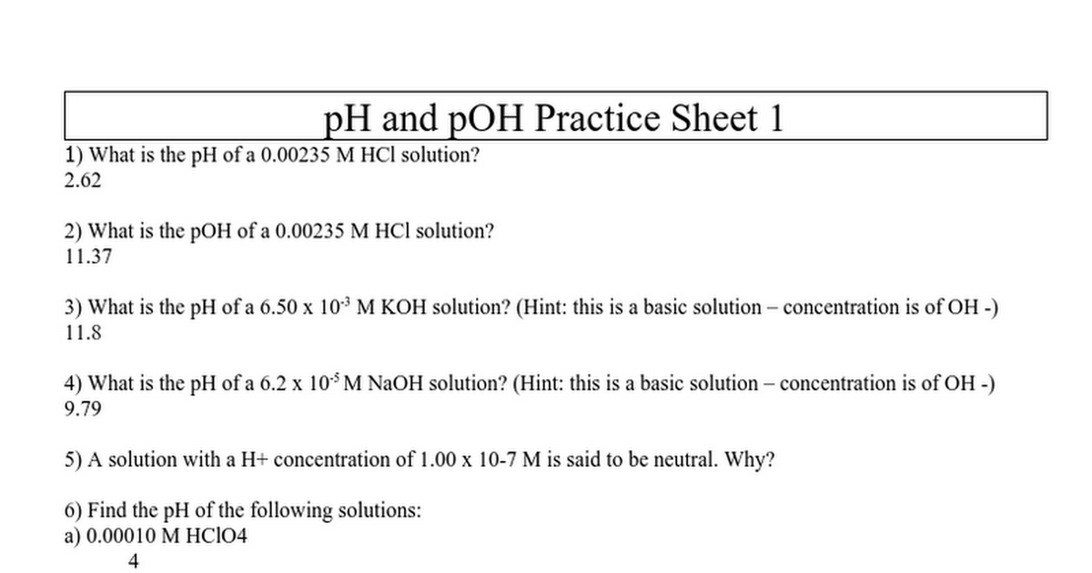 ph and pOH worksheet keydoc Google Docs – Ph and Poh Worksheet