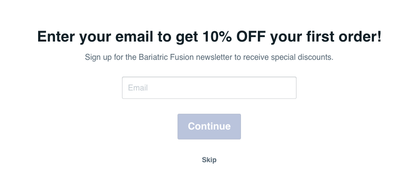 Bariatric Fusion's email opt-in page