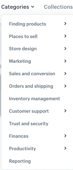 Screenshot of Shopify app store categories
