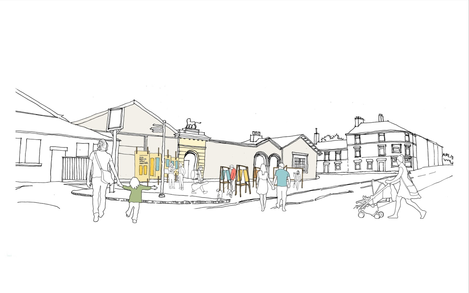 An illustration showing Glossop train station
