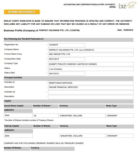 Singaporean company registration certificate