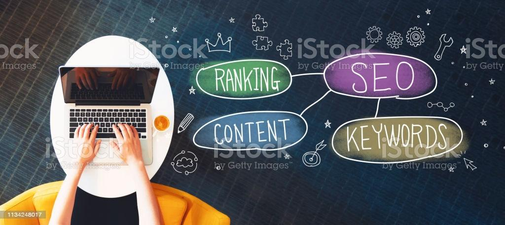 SEO concept with person using a laptop SEO concept with person using a laptop on a white table Search Engine Stock Photo