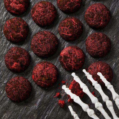 black and red crinkle cookies
