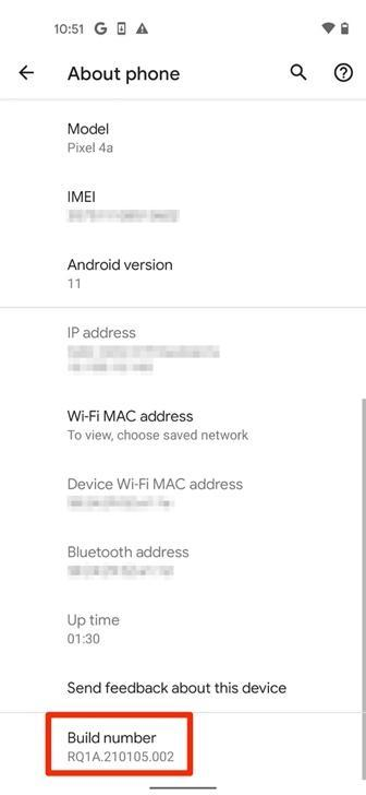 Smartphone Google Pixel 4a settings page, scroll to the highlighted area of Build number, this is the White Oak Security guide to How To Root A Google Pixel Phone.