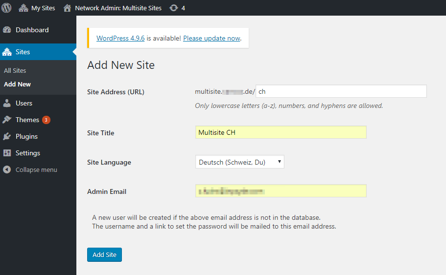 Settings for the new website in the multisite network