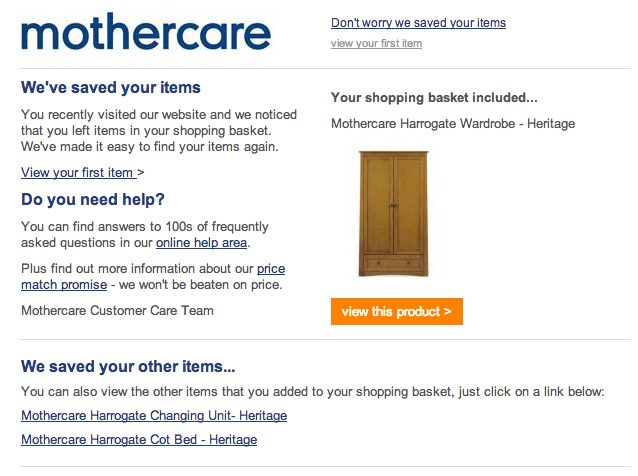mothercare cart abandonment email