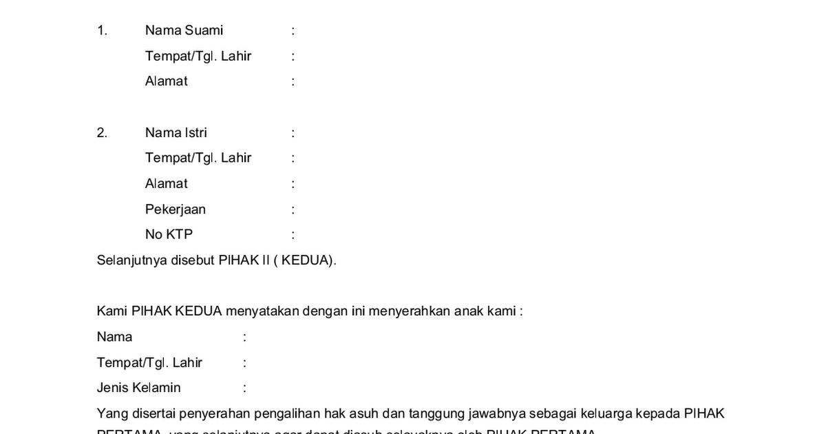 Surat Pernyataan Pengalihan Hak Asuh Anakdoc Google Drive