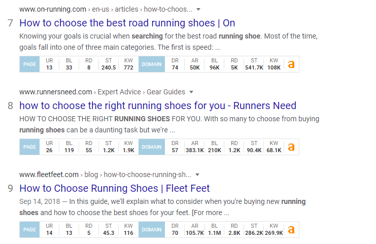 """Long-tail keyword results of """"what to look for in a running shoe"""" that includes high ranking domains"""