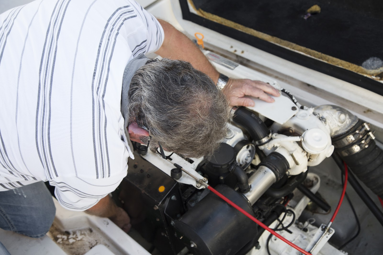 fixing a boat engine