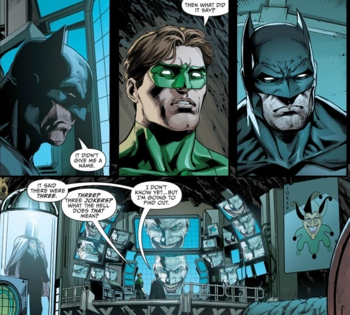 Panel from Justice League #50; Batman and Green Lantern Discuss the Three Jokers.