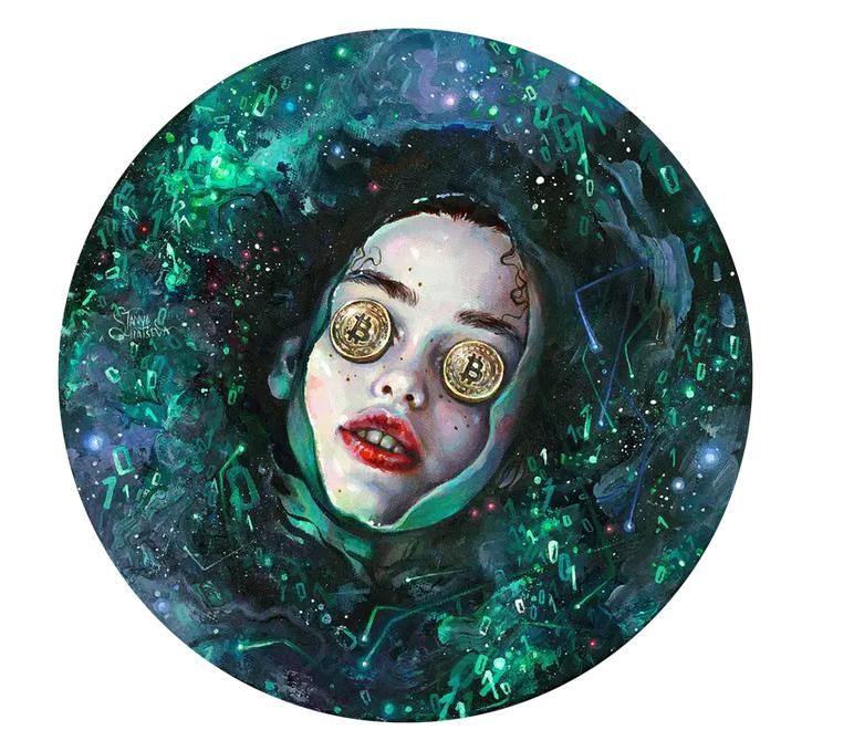 Garota com olhos cobertos por moeda de bitocin e envolta em números