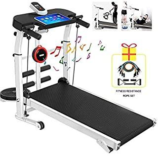 RAFFISH Folding Treadmill with Bluetooth Speaker, Mechanical Treadmill,Portable Adjustable Incline Shock Home Indoor Sports