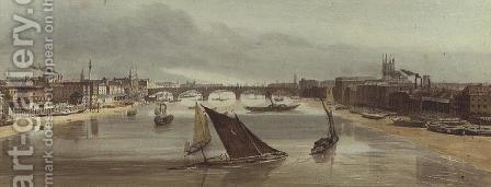 London Bridge from Southwark Bridge (Monument on left), 1842 by Thomas Shotter Boys - Reproduction Oil Painting