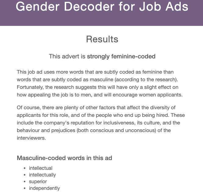Gender Decoder screenshot