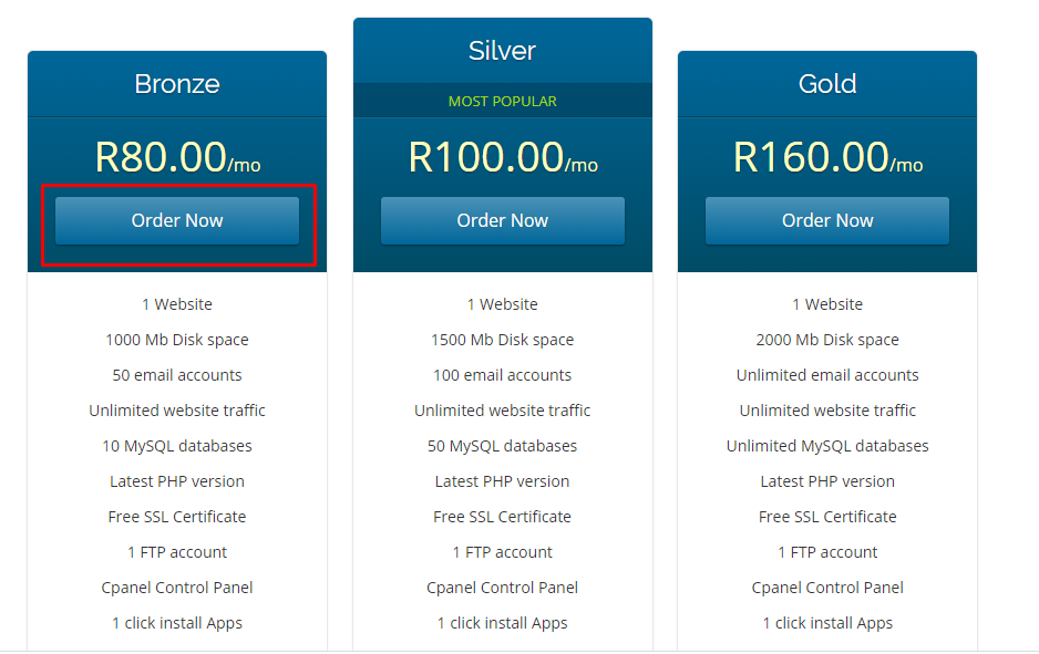 Hosting Plan packages on Prince chiramba website