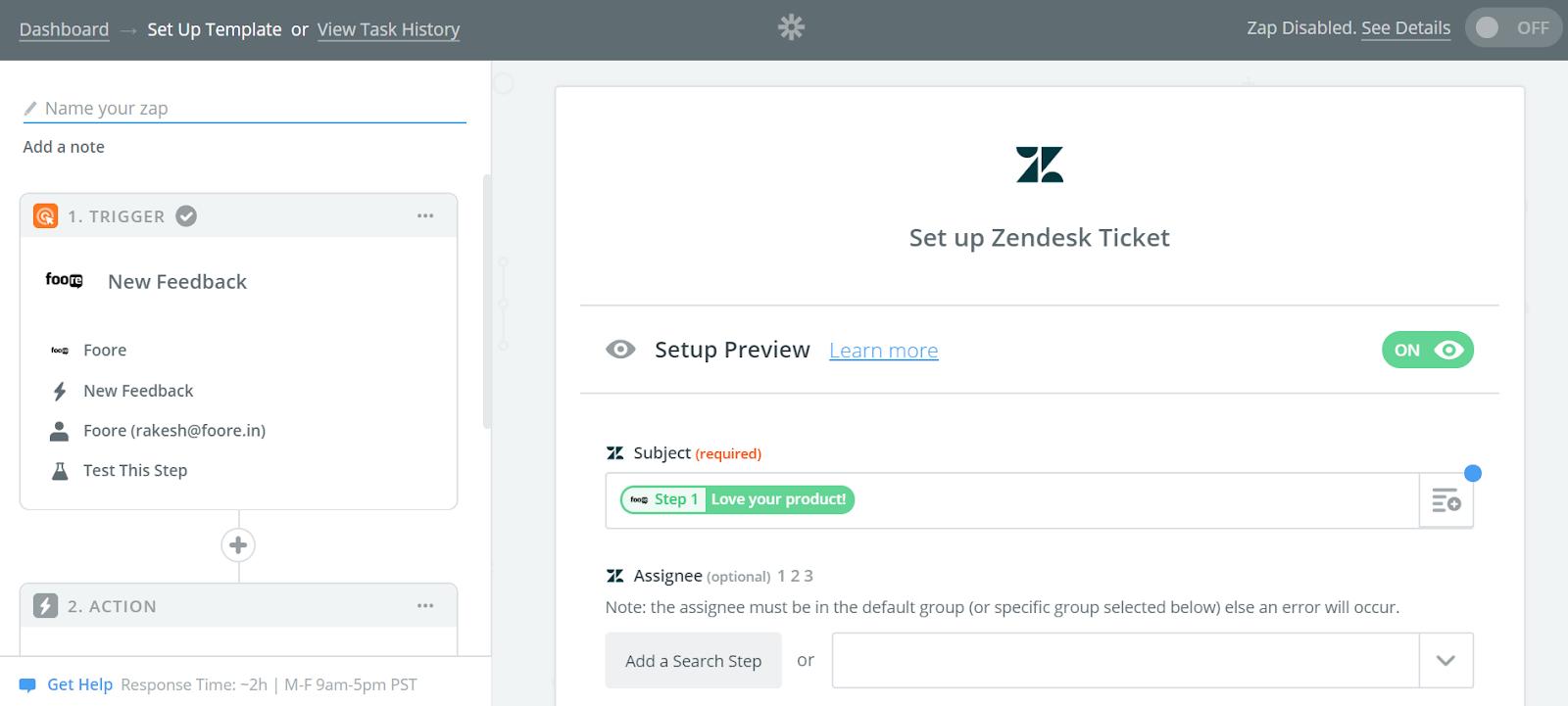 Zendesk Foore Integration