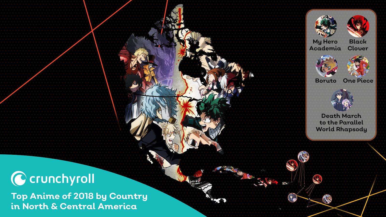 Animes mais populares da Crunchyroll por país - Américas do Norte e Central