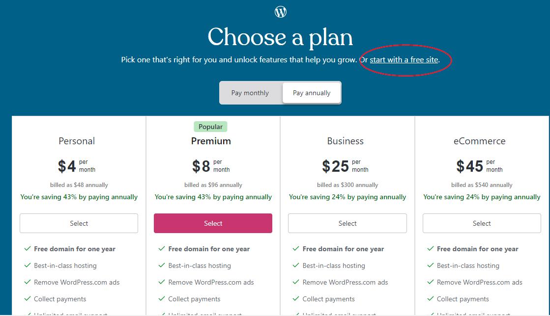 wordpress.com paid plans