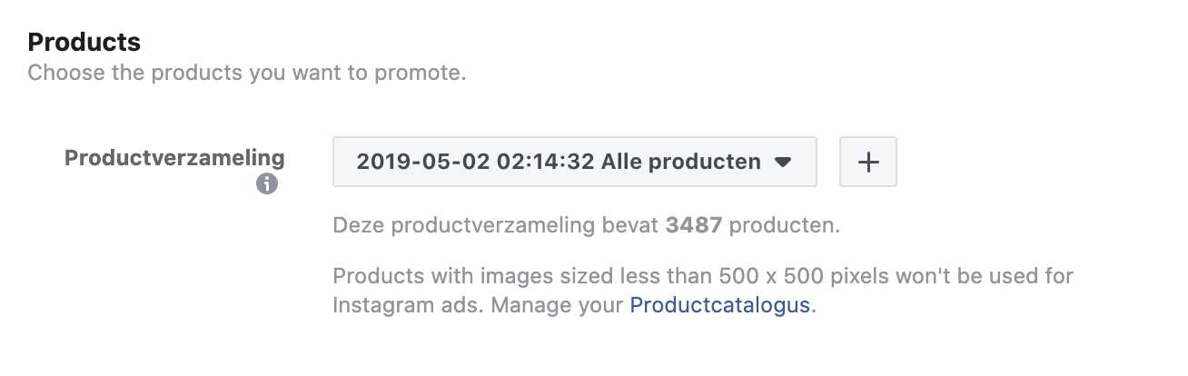 productverzameling selecteren facebook ads