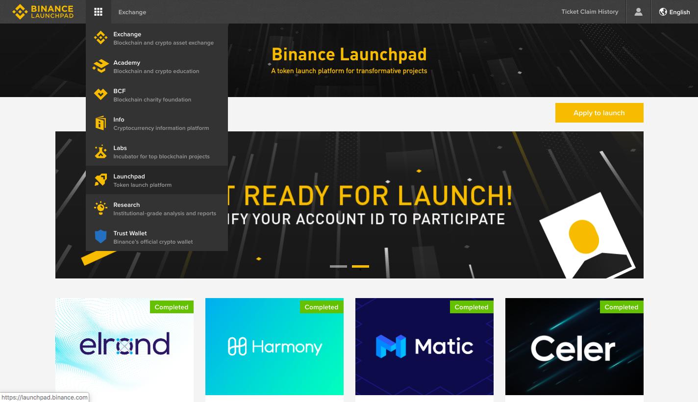 Сайт Бинанс. Binance Launchpad