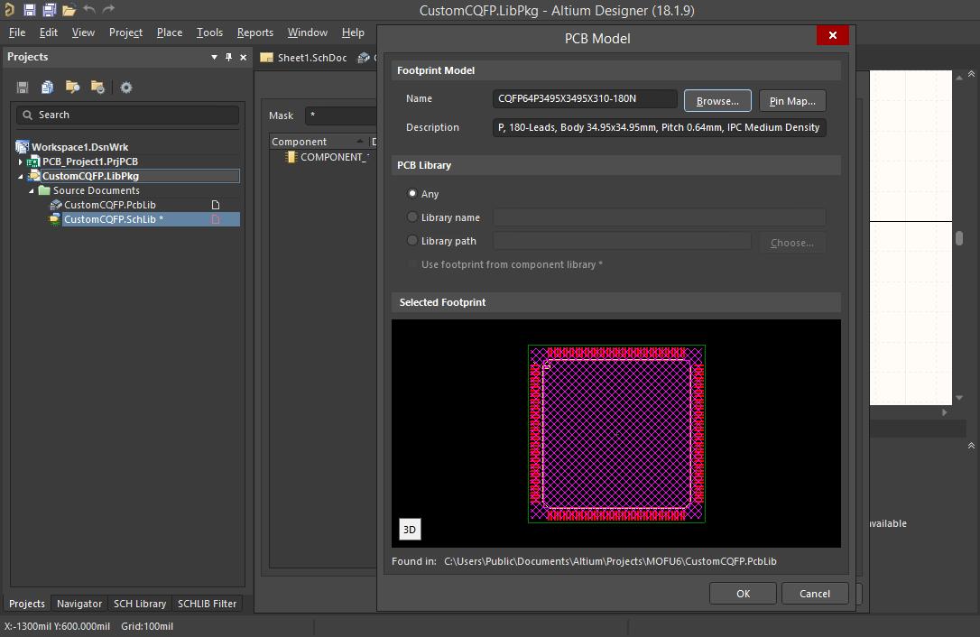 Screenshot of the PCB Model dialog in Altium  Verknüpfen Ihres PCB-Modells mit Ihrer Schaltplanbibliothek