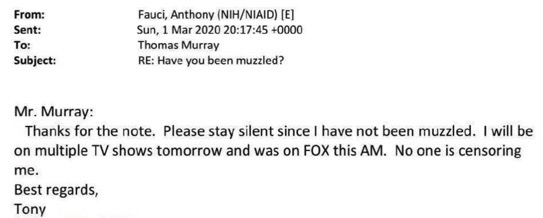 """Dr. Fauci's email to """"stay silent"""" about comments regarding him being muzzled."""