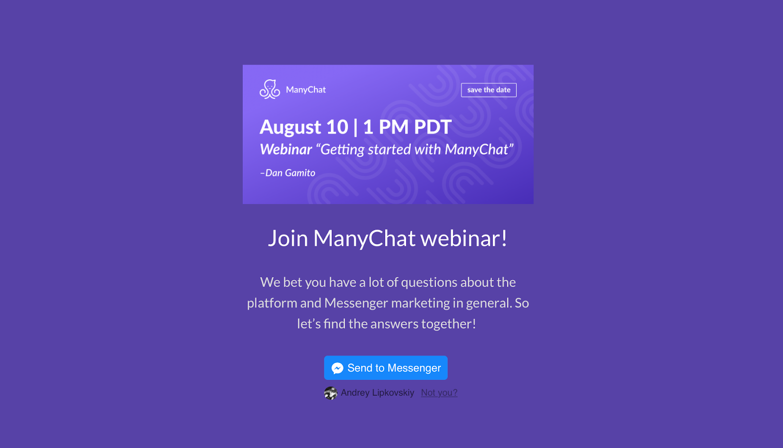 ManyChat landing page widget | ManyChat