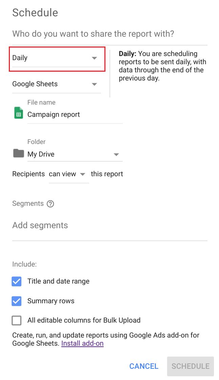 Rapporten inplannen