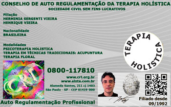 CRT - Carteira de Terapeuta Holístico Credenciado - Verso
