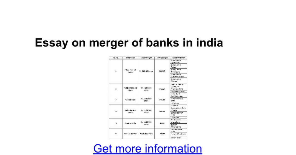 essay on merger of banks in google docs