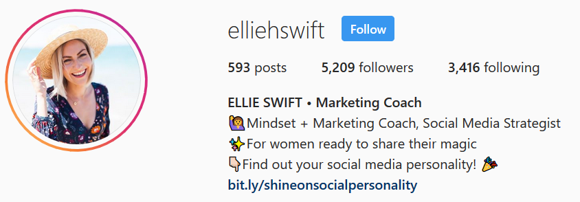 Example of marketing coach on instagram