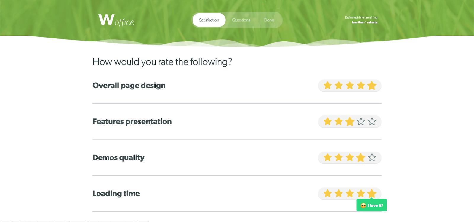feedback forms satisfaction rating