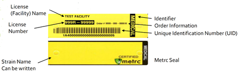 visual example of a metrc plant tag