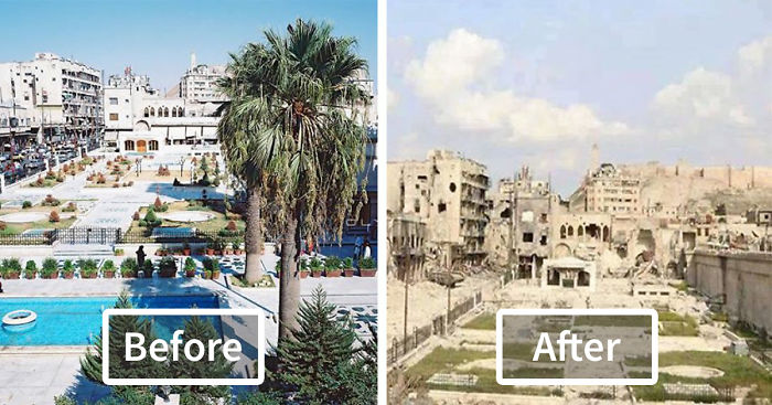 Before and After the syrian civil war in the city of aleppo