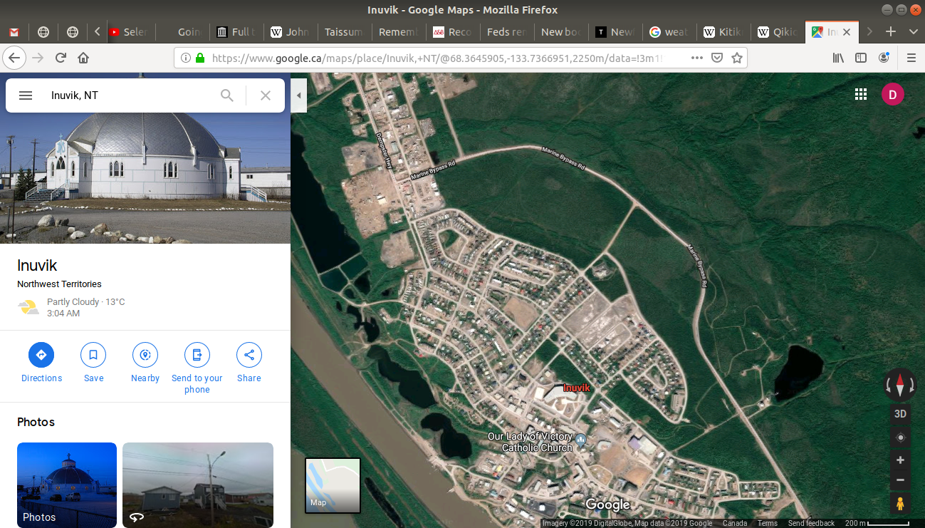 the satellite view being displayed on google maps