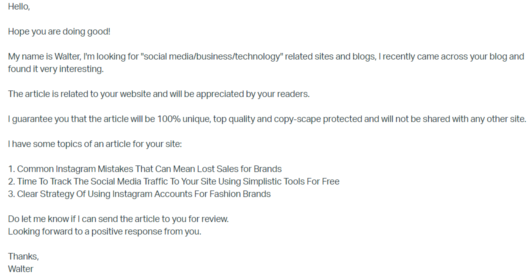 A screenshot of generic outreach email Description automatically generated