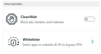 Ảnh chụp màn hình Surfshark CleanWeb Whitelister