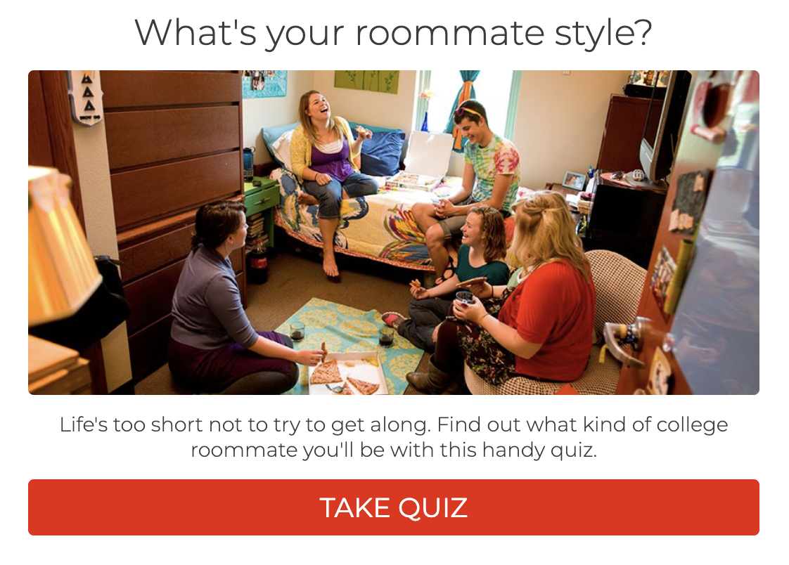 example of college quiz - roommate matching