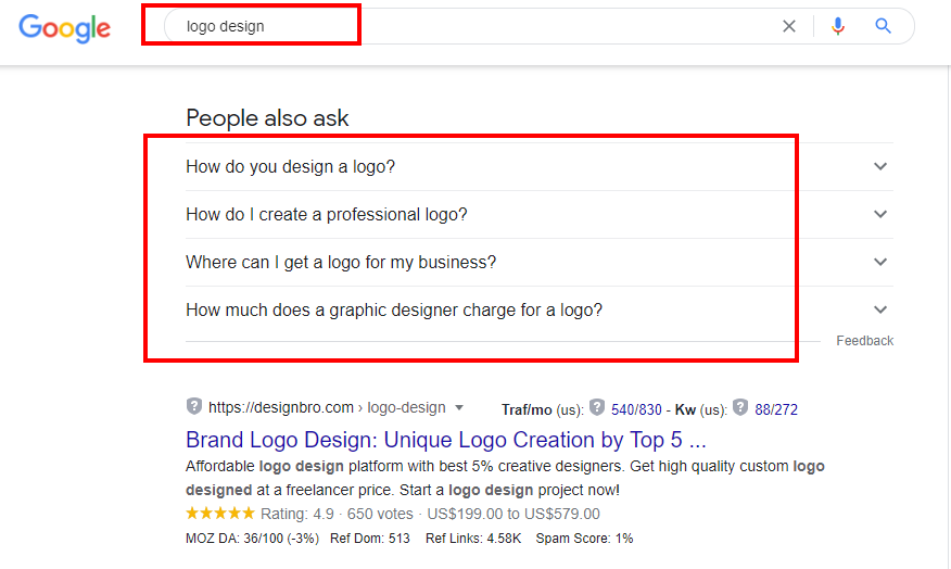 Google's People also ask snippet for the keyword logo design