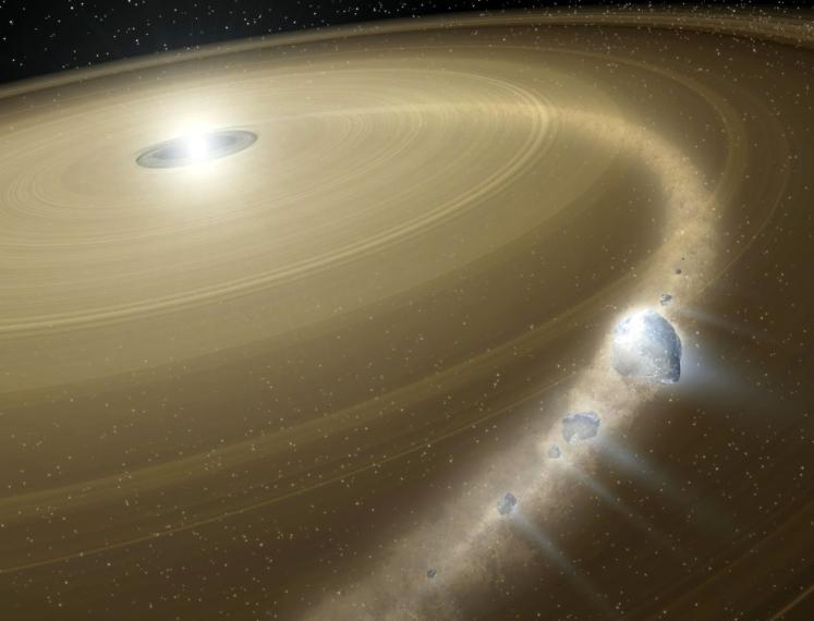 Planetesimal falling onto a white dwarf star