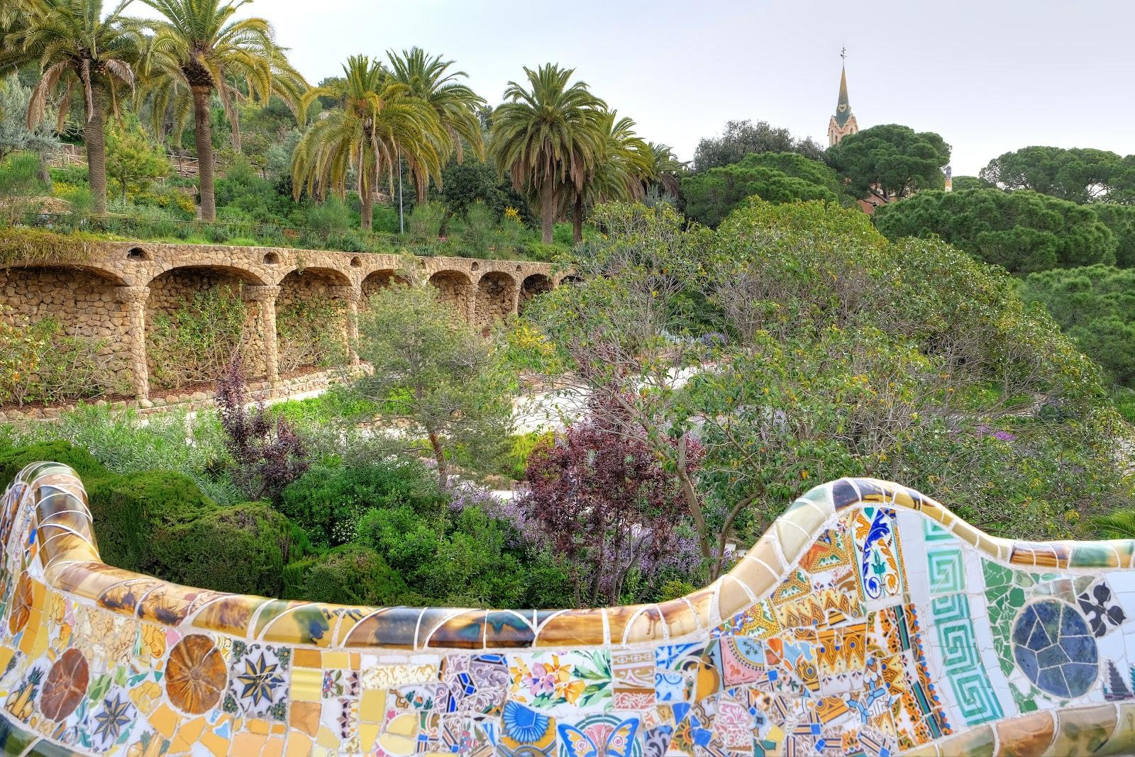 A view over the Austria Gardens in Park Guell.