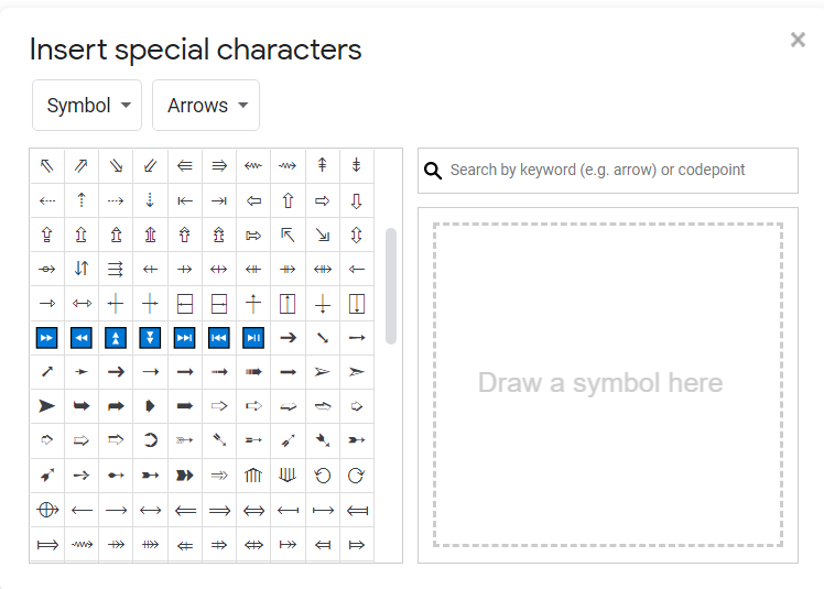 insert special characters in google docs
